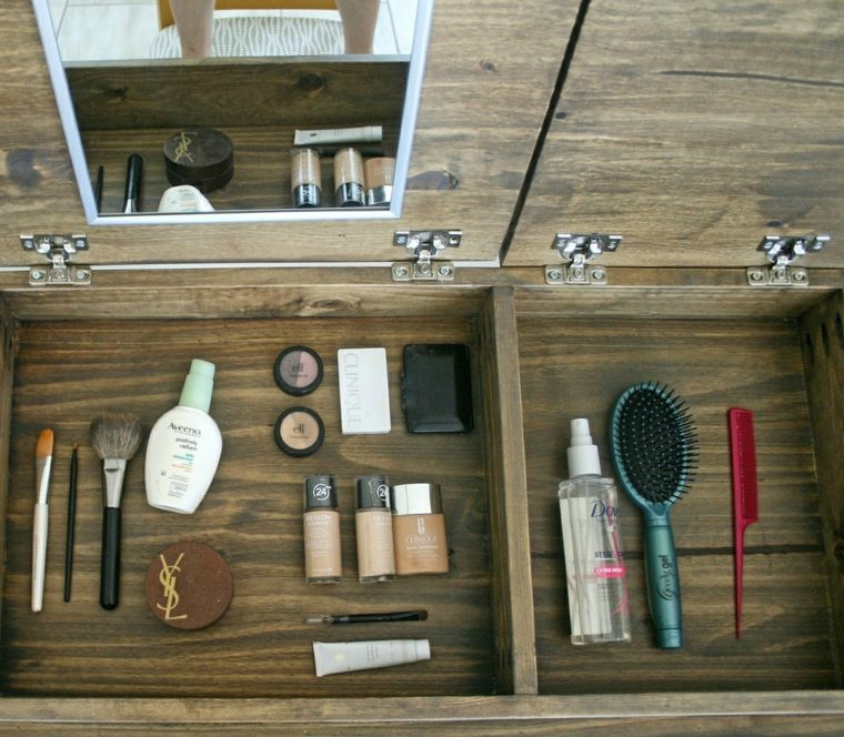 boite rangement maquillage makeup bois