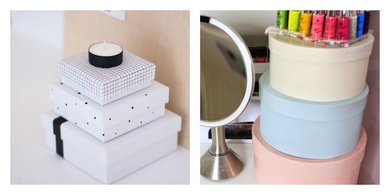 boite rangement maquillage pas cher reutiliser cartons
