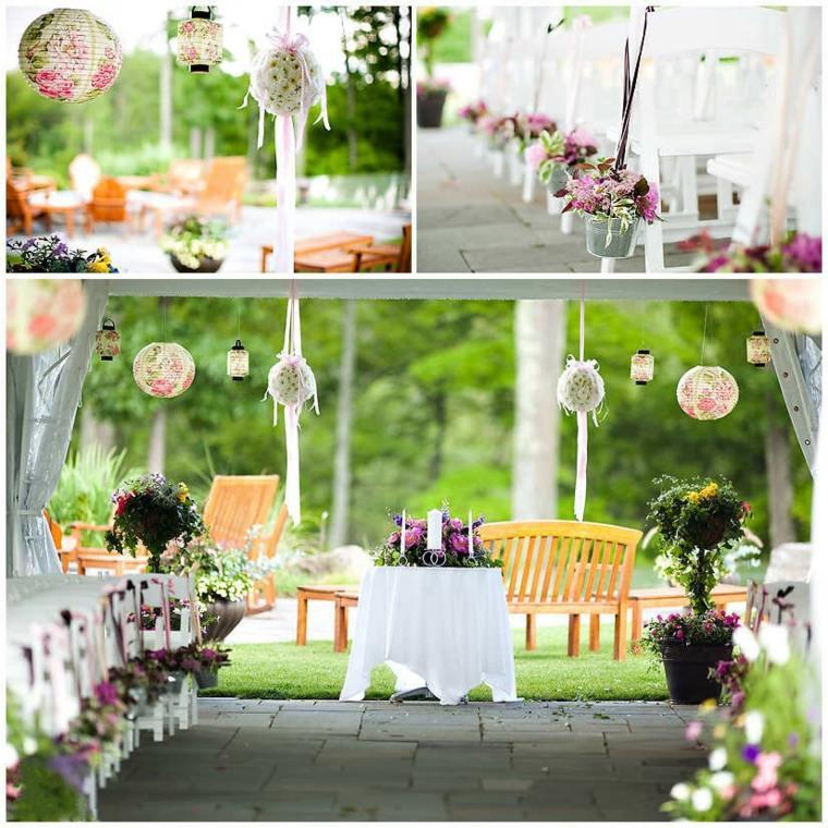 déco mariage lanternes motifs floraux
