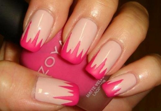 decoration ongles beige rose