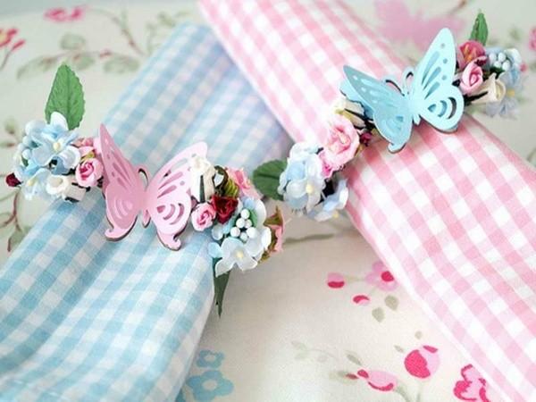 rond de serviette diy en motifs floraux papillons fleurs printemps