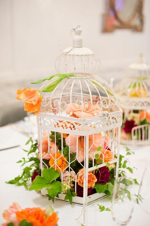 superbe cage baroque emplie fleurs