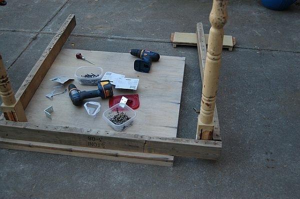 table de jardin en palette matériaux