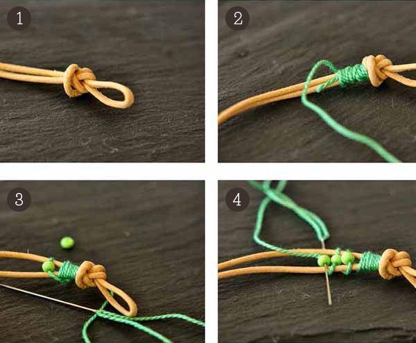 bracelet de perles et cordon de cuir