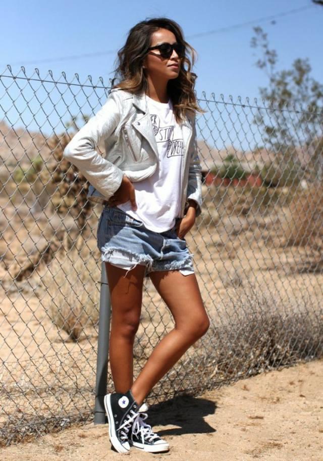 femme jeans short converse