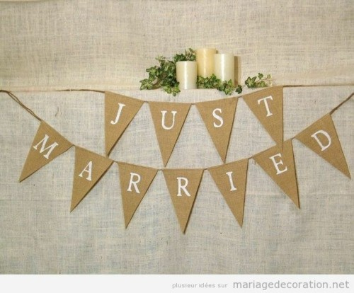idee deco mariage guirlande just married