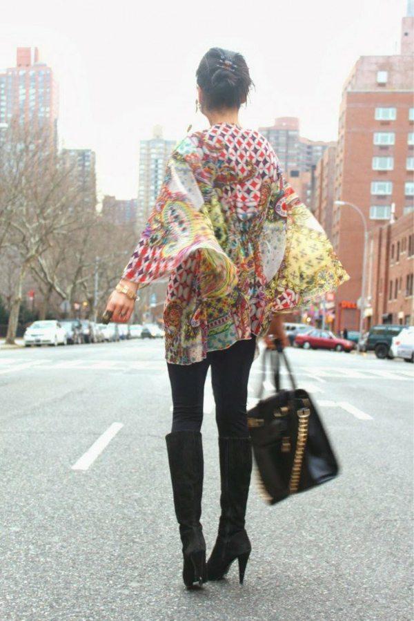 imprimes psychedeliques kimono franges