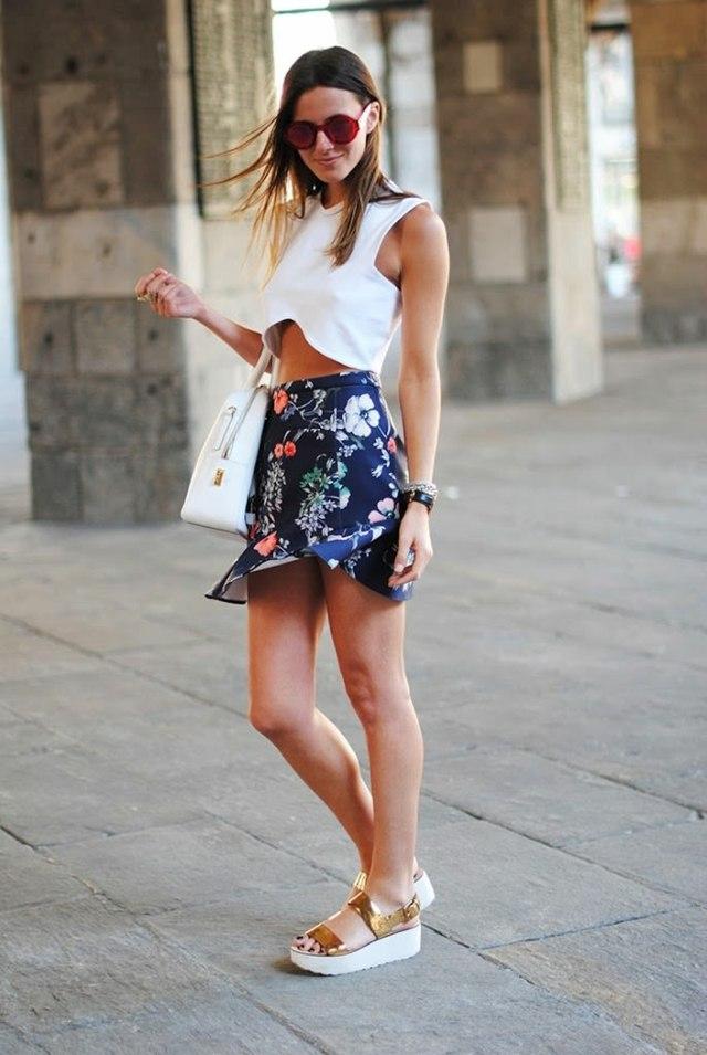 jupe ete femme motif floral