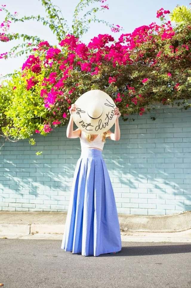 look ete femme jupe longue bleue