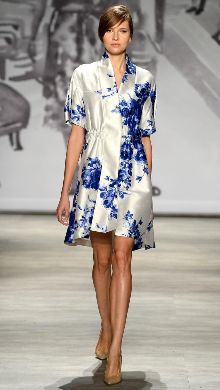 robe courte ete bleu blanc Alberta-Ferretti