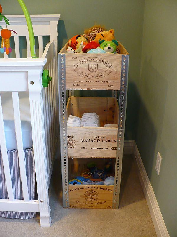 Trois caisses pour ranger les jouets d'enfants