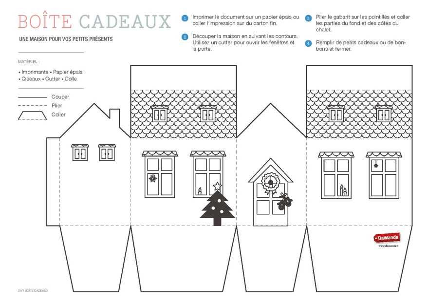 Coffret cadeau imprimer la maison diy for Maison en carton a colorier