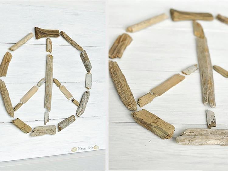 signe de paix en bois flotté
