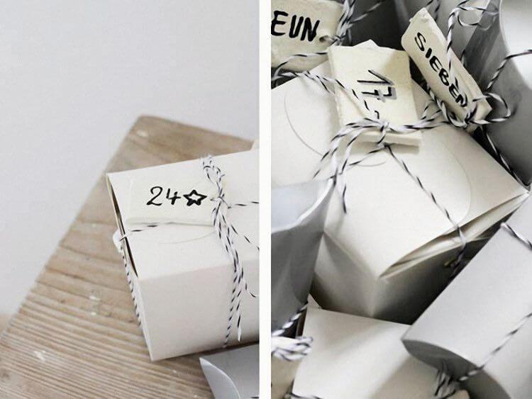 calendrier de l'Avent en boîtes en papier 1