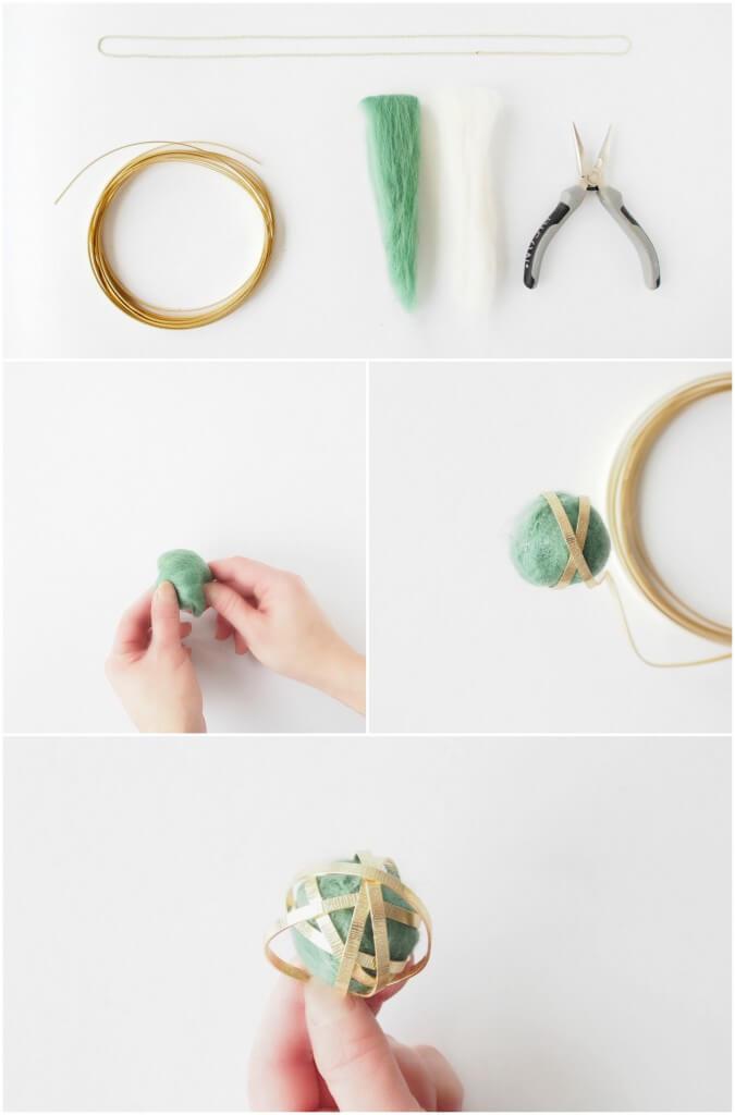 pendentif boule de laine et ruban métallisé 1