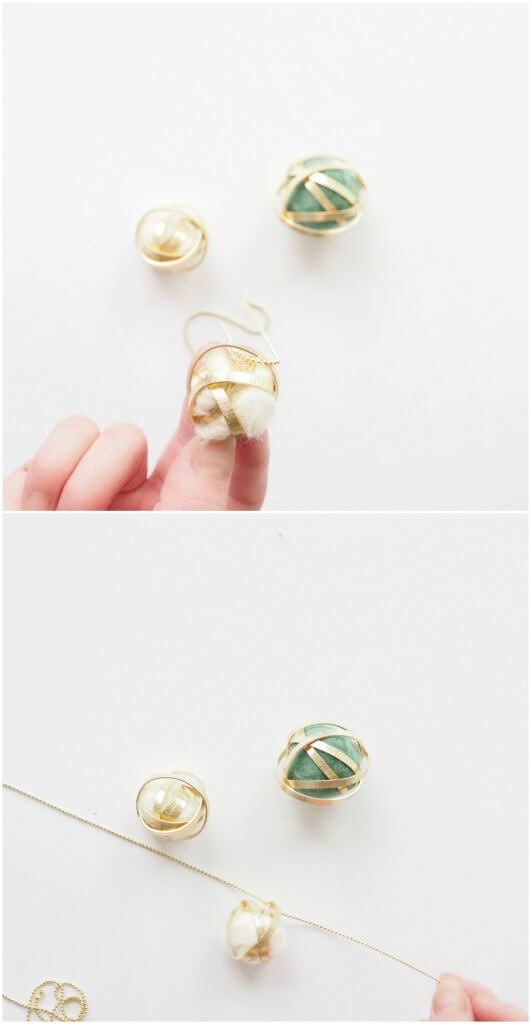 pendentif boule de laine et ruban métallisé 3