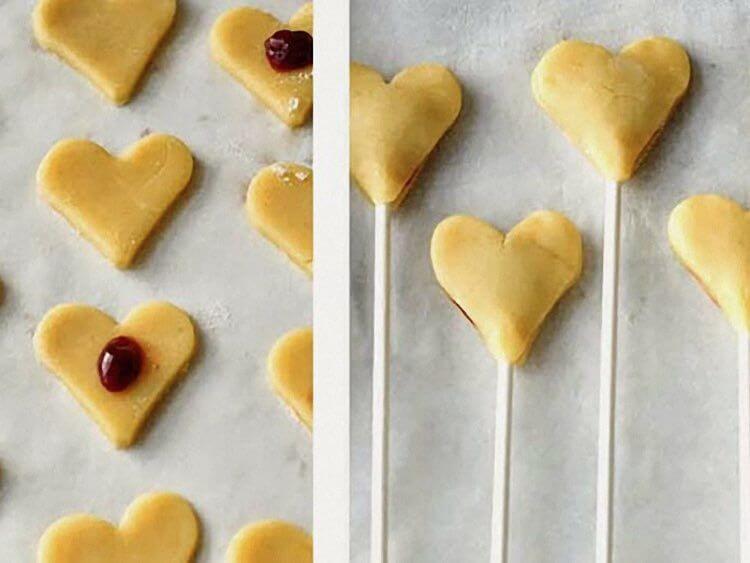 biscuits bâtonnets en forme de cœur