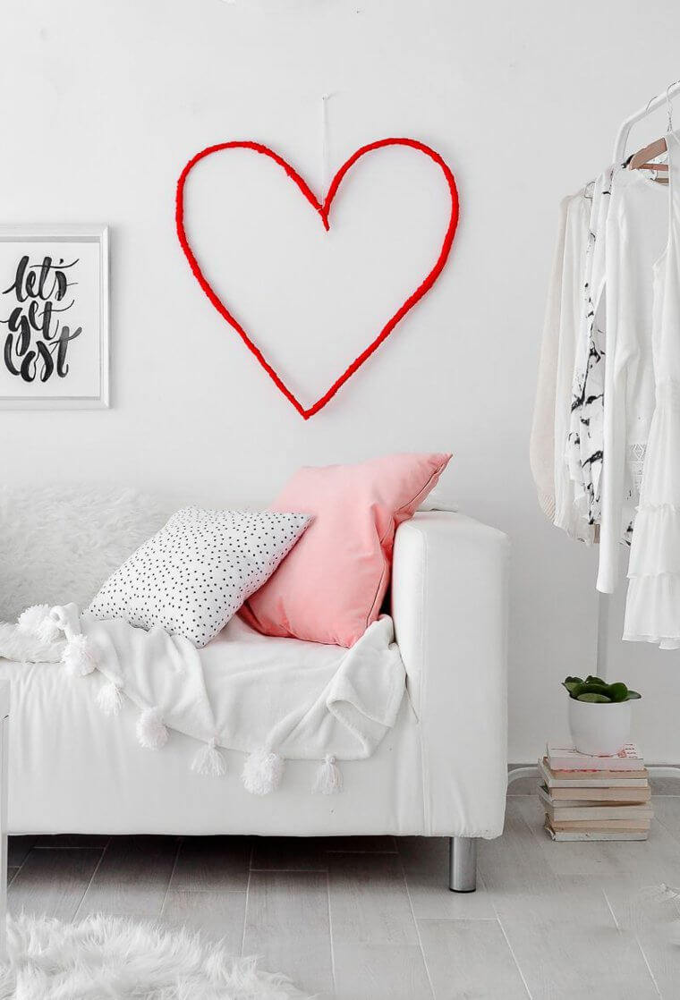 id e saint valentin d co murale originale avec c ur g ant la maison diy. Black Bedroom Furniture Sets. Home Design Ideas