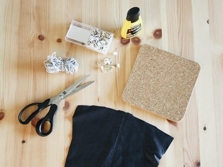 matériel pour vide-poche mural en liège et cuir