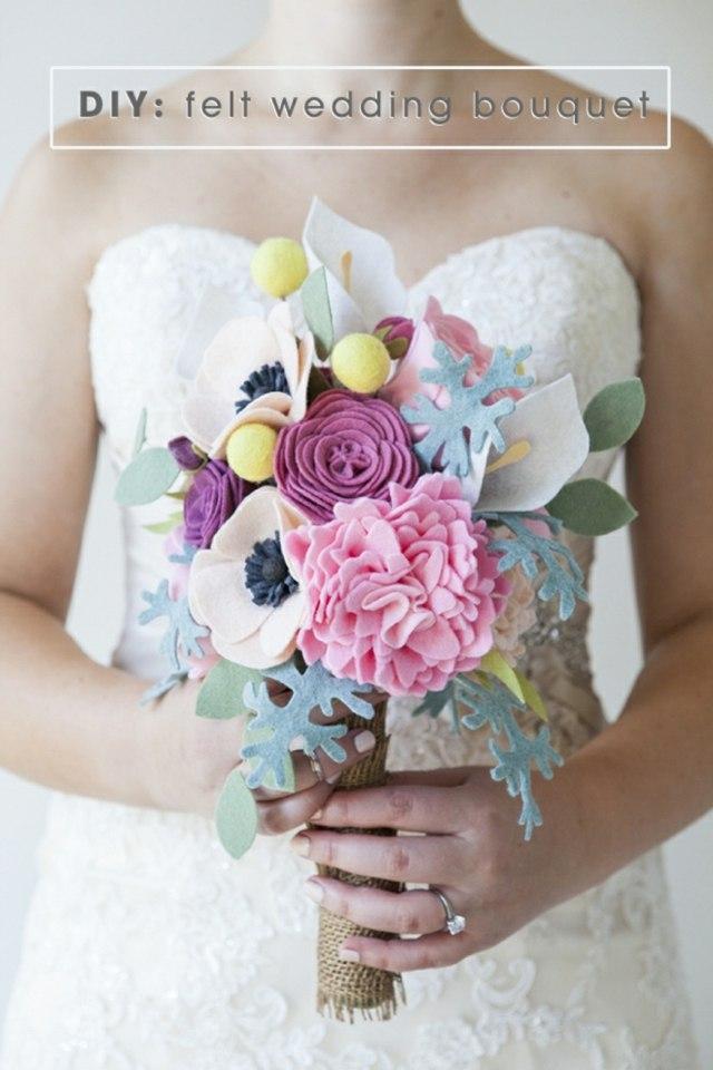 bouquet de mariage pérenne deco feutre laine