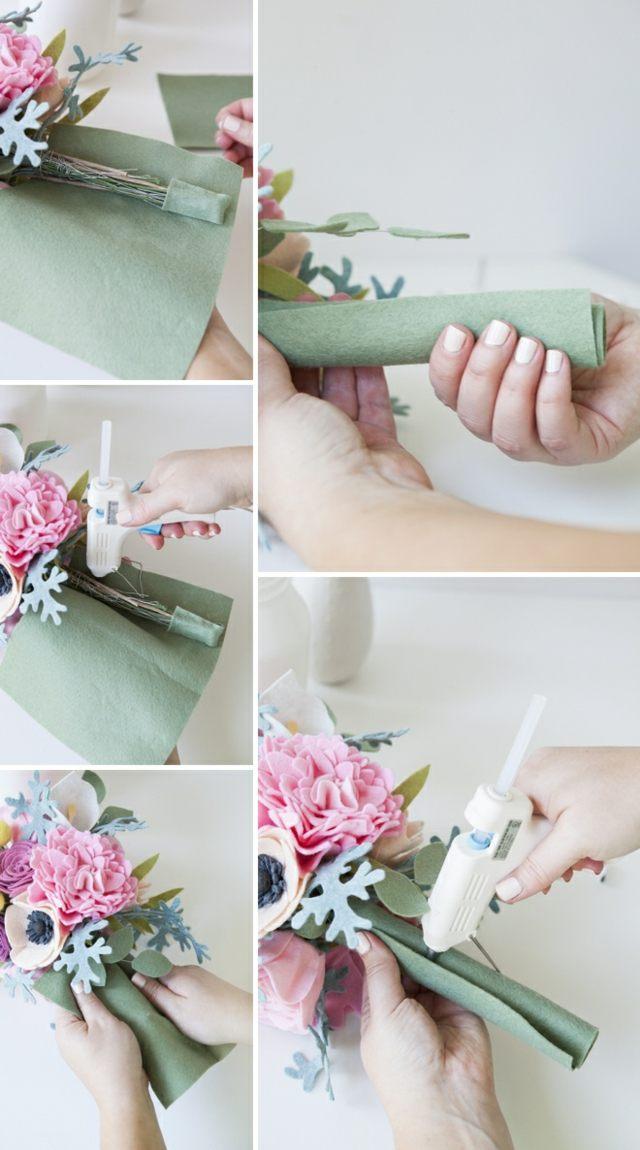 bouquet de mariage pérenne enrouler feuille feutre colle