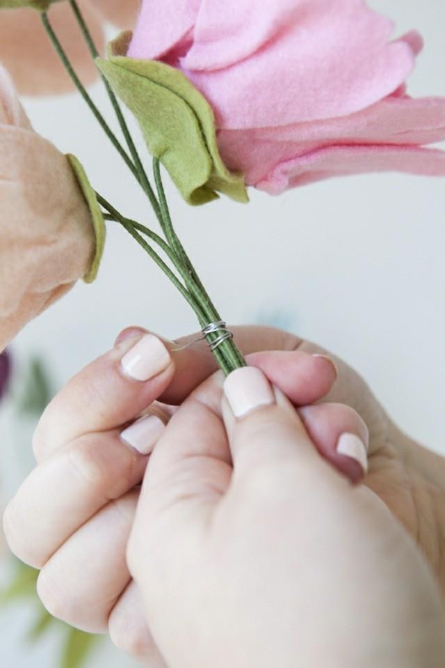 bouquet de mariage pérenne enrouler tiges fil fer