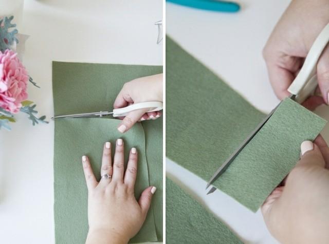 bouquet de mariage pérenne enveloppe feutre sauge vert