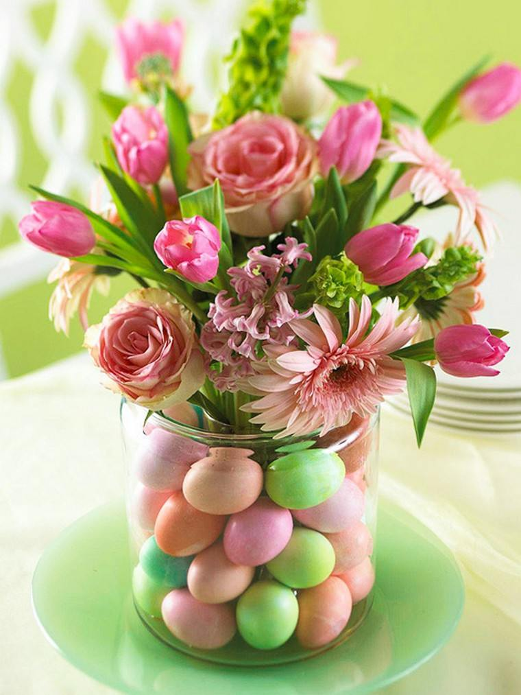paques déco fleurs bouquet idée vase décorer espace