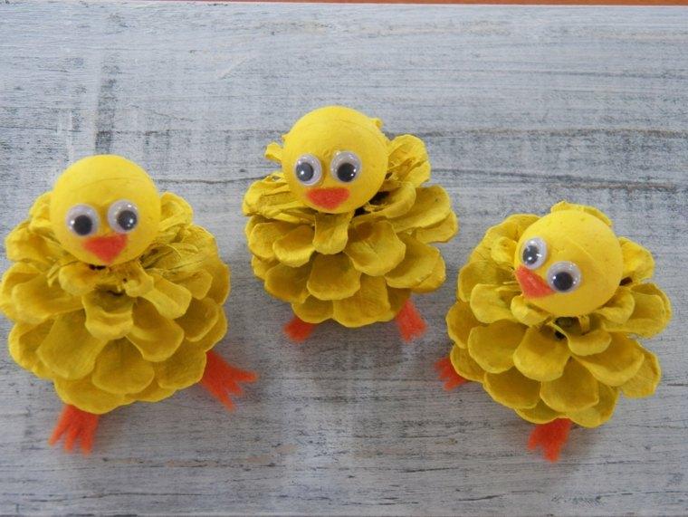 images de pâques poussins créés pommes de pin