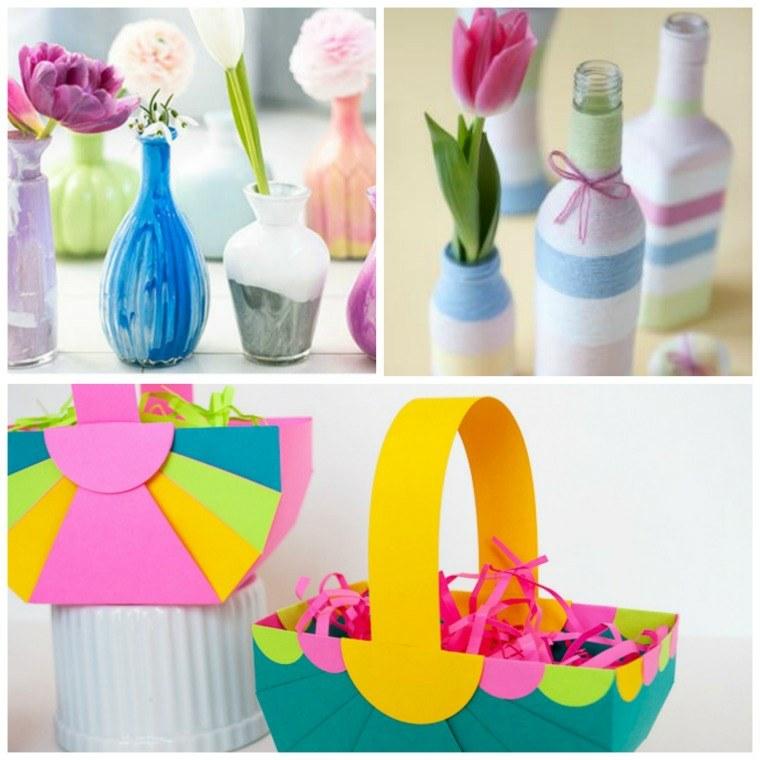 images de pâques vases peints paniers papier couleurs vives