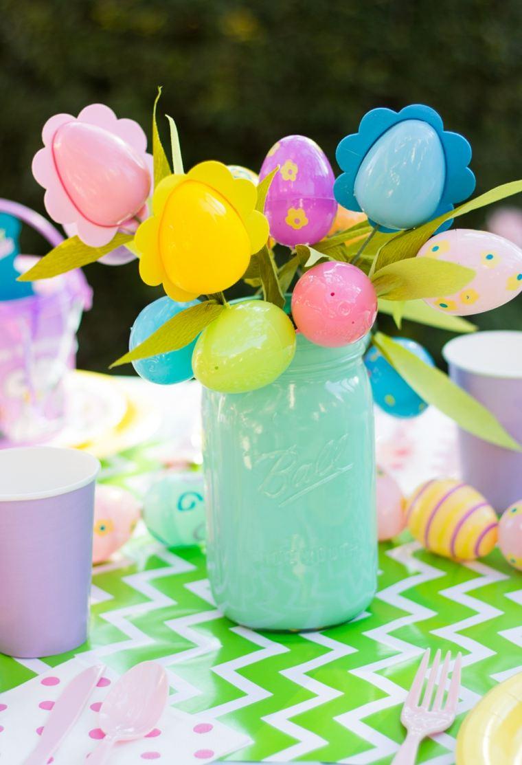joyeuses pâques bouquet fleurs oeufs plastique