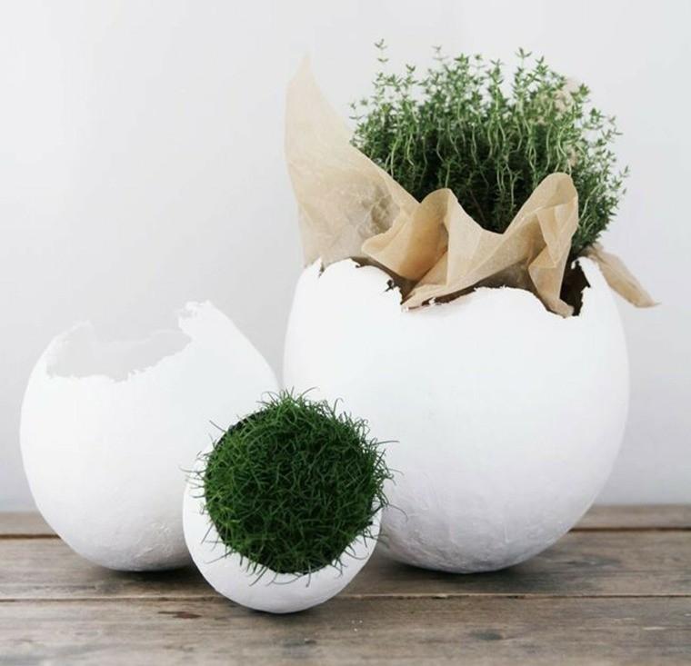oeuf de pâques décoration pot de fleurs herbe
