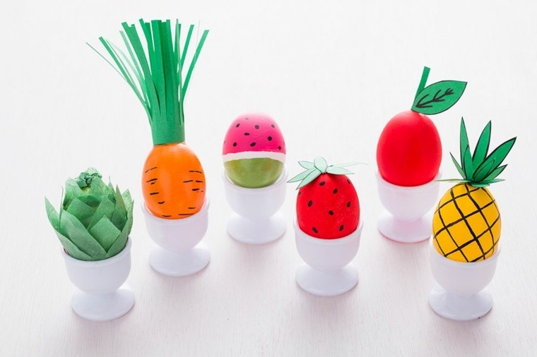 oeufs de pâques fruits légumes rigolos
