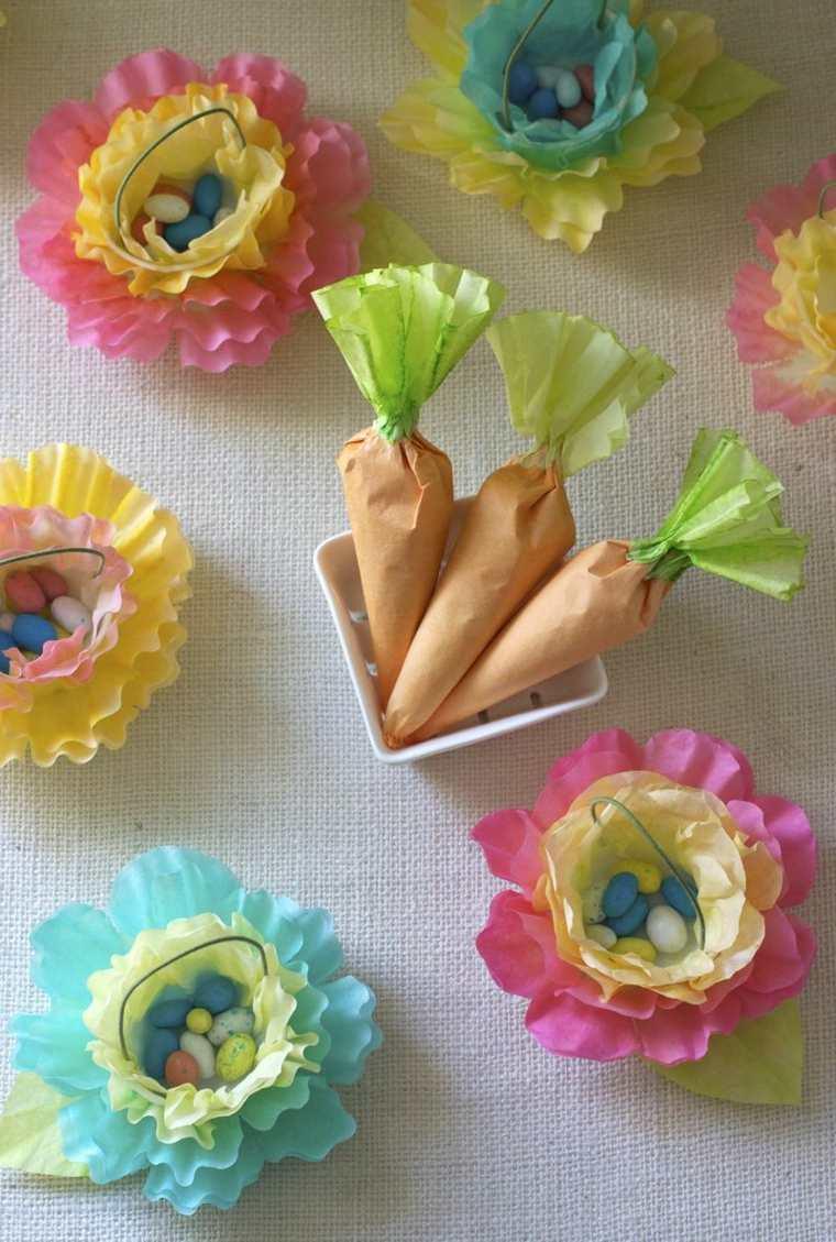 pâques déco papier petits paniers oeufs carottes lapin