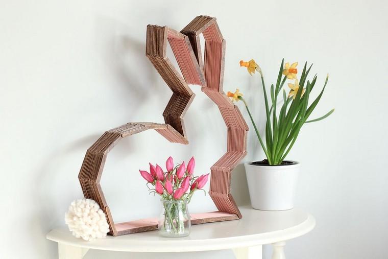 fête de pâques lapin bois idée déco fleurs plante déco printemps