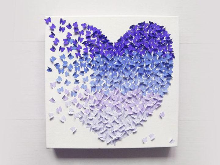 Faire un tableau 3D en papillons de papier