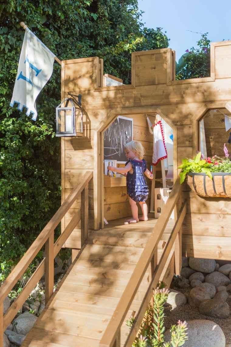 aire jeux bois brico escalier
