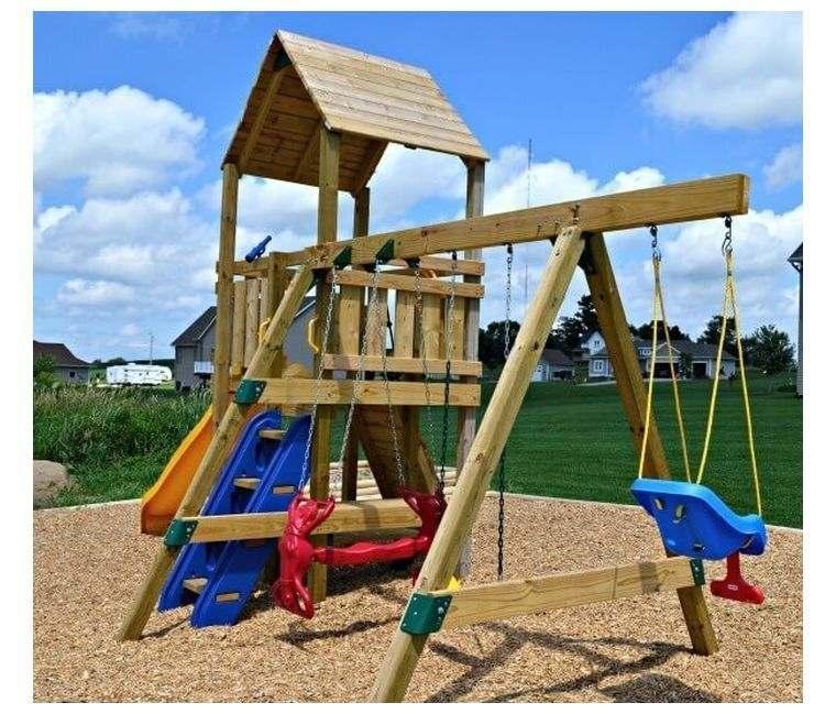 aire de jeux en bois enfant-diy-idee