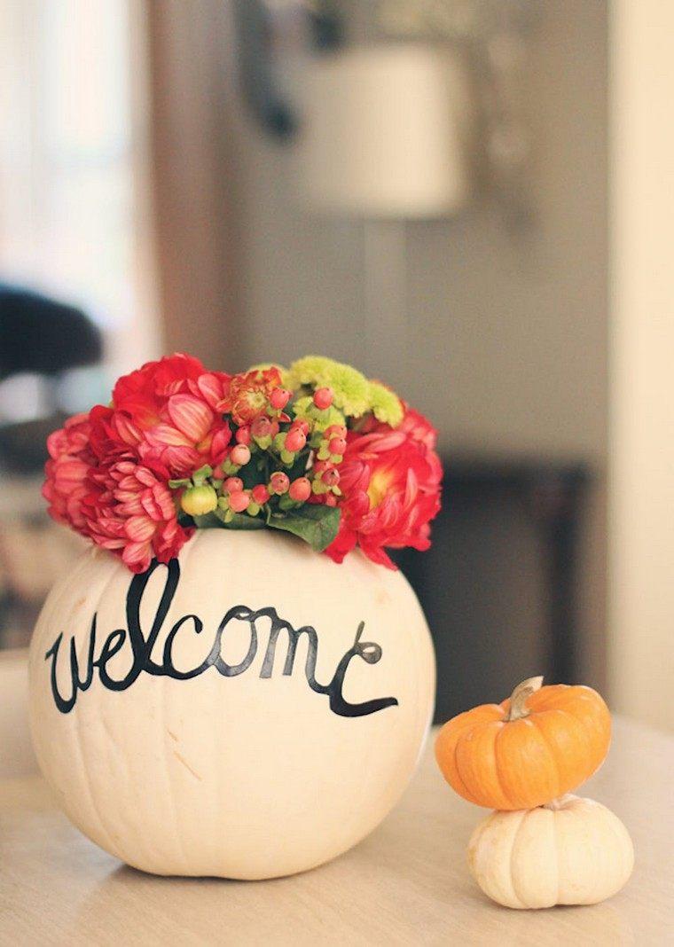 déco automne pas cher citrouille vase fleurs