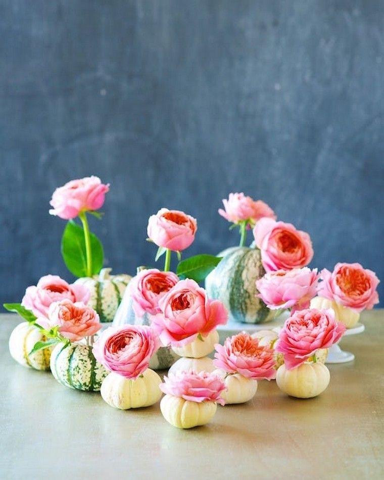 déco automne pas cher citrouille fleurs rose