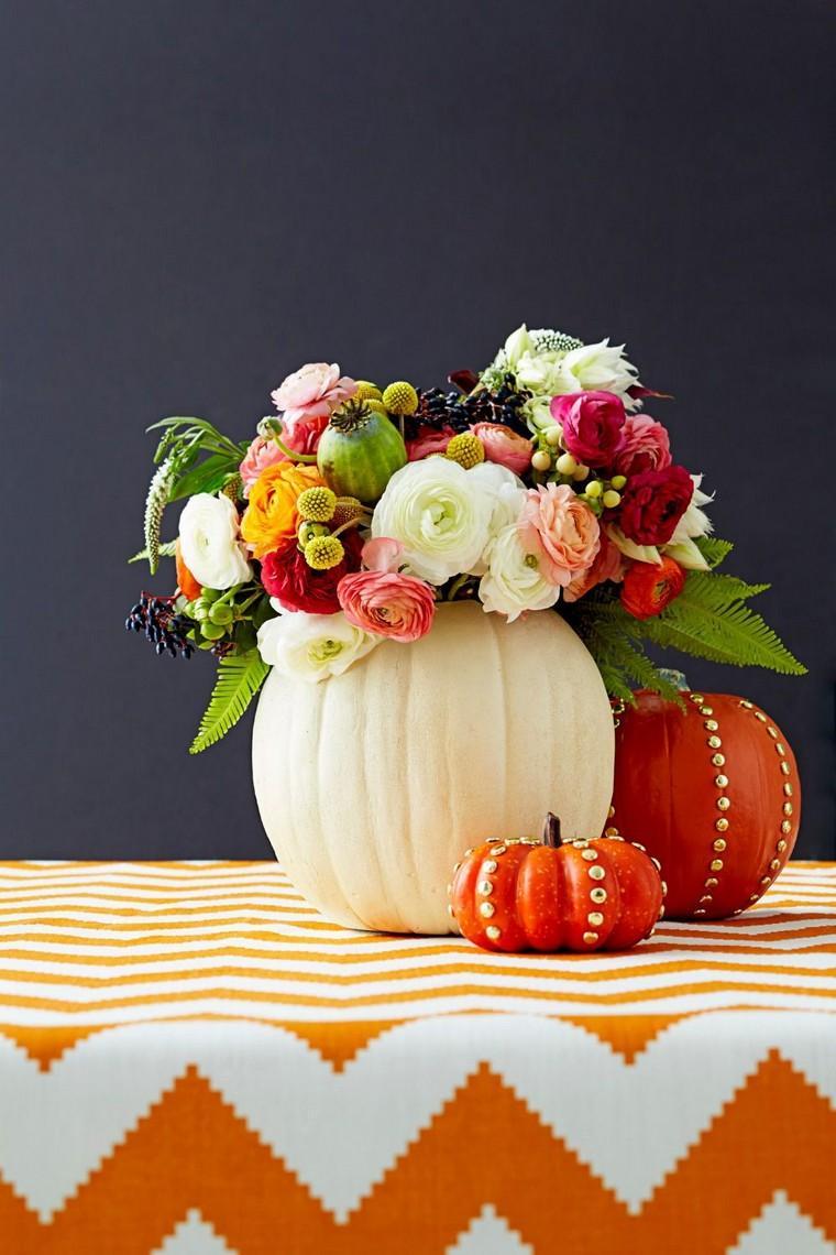 déco automne pas cher citrouille fleurs bouquet idée