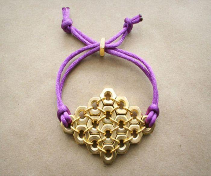 diy bracelet cordes perles dorées modele bricolage facile