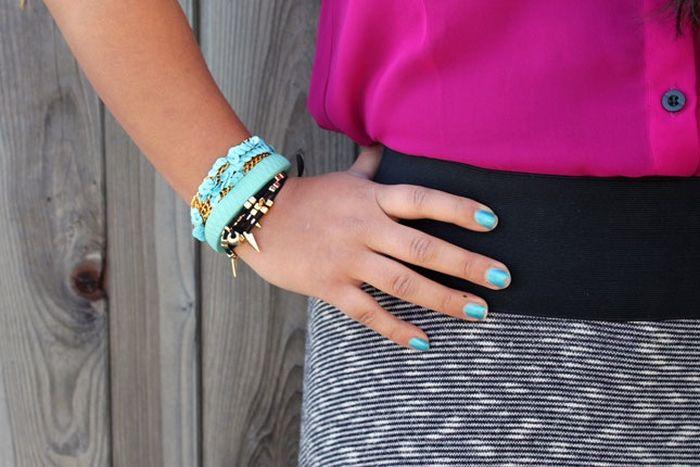 tuto diy bracelet perles or corde bleu accessoire a porter