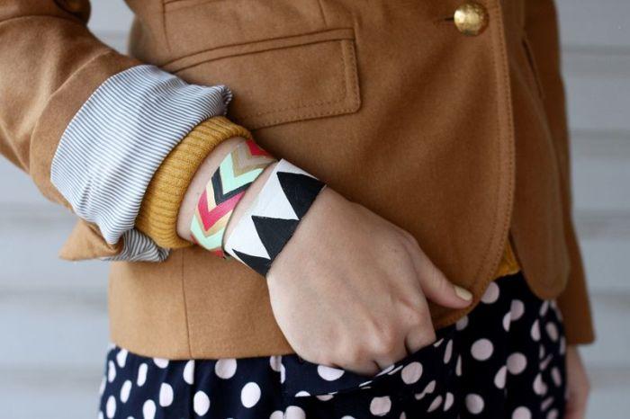 diy bracelet tendance comment fabriquer un bracelet corde imprime geometrique