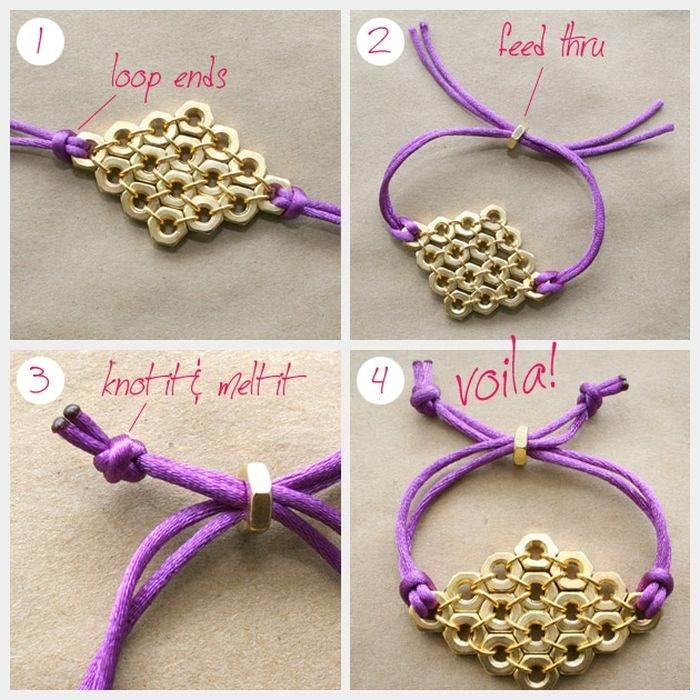 diy bracelet corde tutoriel bricolage accessoire tendance or