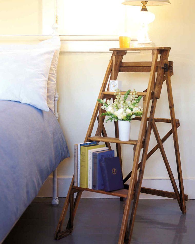 diy rangement chambre faire une table de nuit bois echelle bois