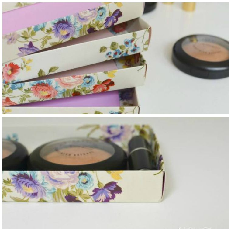 modele diy rangement maquillage boites papier bricolage simple