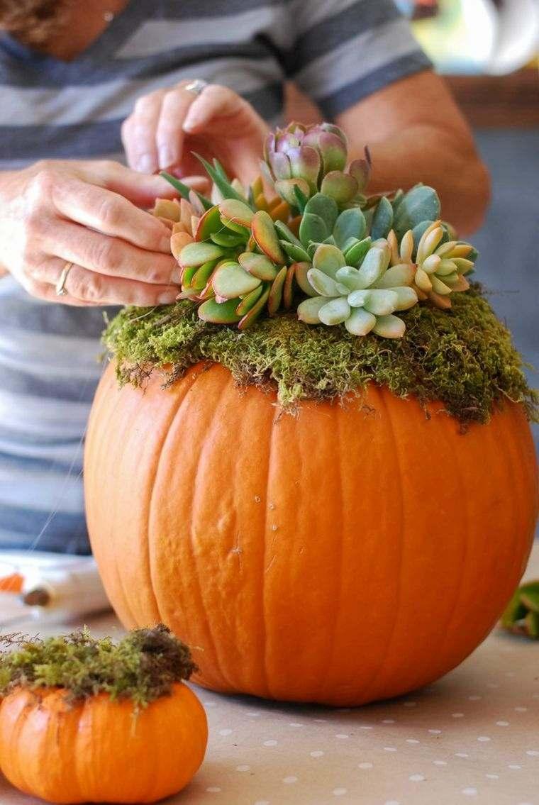 idee-deco-automne-vase-citrouille-plante-succulente
