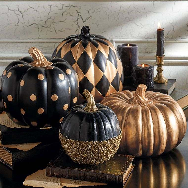 idee-deco-halloween-citrouille-noire-or-photo