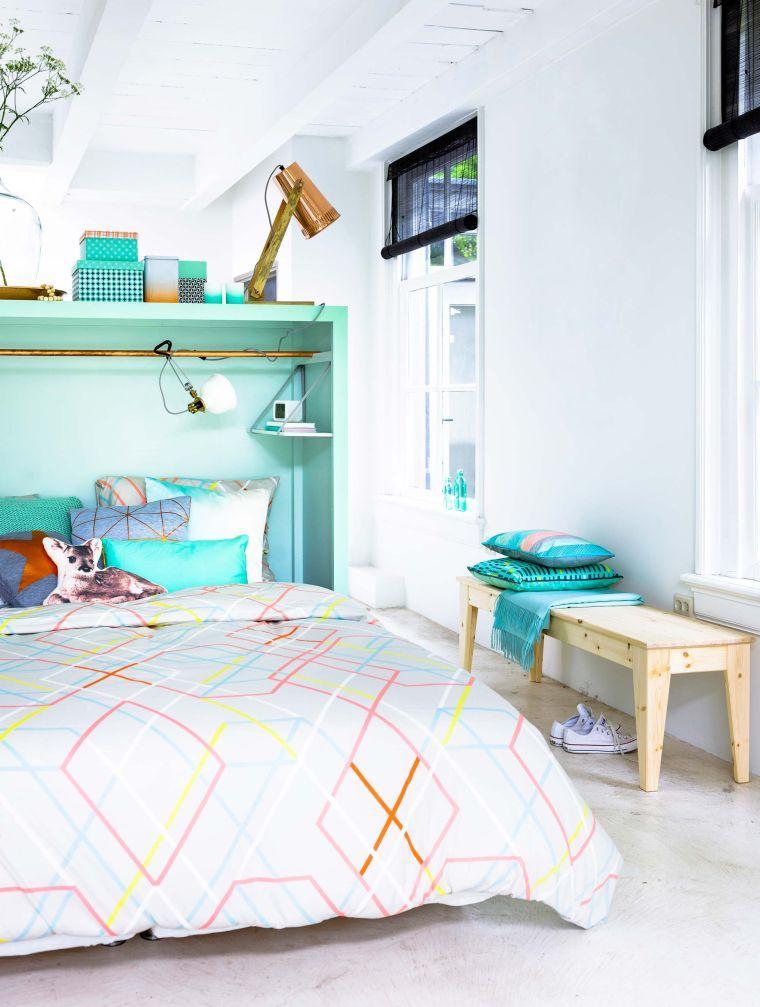 faire un meuble de rangement chambre tete de lit etageres